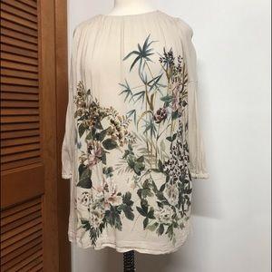 Zara Girl's Long Sleeve Beige Dress with Flowers